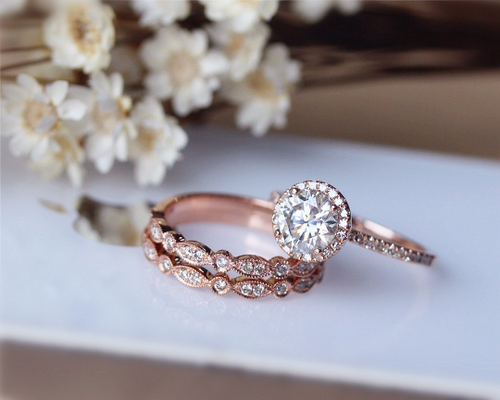 1ct Brilliant Moissanite Engagement Ring 3 Ring Set Solid 14K Rose