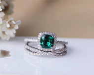 6mm Cushion Emerald Ring Set Solid 14K White Gold Wedding Ring Emerald Engagement Ring Set