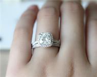 Charles & Colvard 2ct 7.5mm Cushion Brilliant Moissanite Engagement Ring Set Solid 14K White Gold