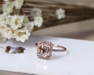 Pink Emerald Cut 6x8mm halo VS Morganite Ring Pave Diamonds Ring Solid 14K Rose Gold Ring