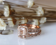 3PCS ring set Emerald Cut 14K Rose Gold Morganite Ring Set Morganite Engagement Ring Set