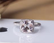 Cushion Cut Morganite Ring Solid 14K White Gold Morganite Engagement Ring Wedding Ring