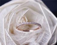Pave Diamond Wedding Band Solid 14K Rose Gold Diamond Engagement Band Half Eternity