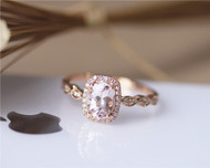 Art Deco 6x8mm Oval Morganite Ring Marquise Style Band Solid 14K Rose gold Engagement Ring