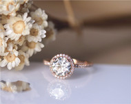 1.5ct Round Charles & Colvard Brilliant Moissanite Ring Solid 14K Rose Gold Wedding Ring