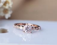 6mm Round Morganite Ring Solid 14K Rose Gold Morganite Engagement Ring Wedding Ring