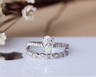 Pear Cut Forever Brilliant Moissanite Ring Set Solid 14K White Gold Moissanite Engagement Ring Set
