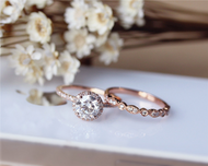 1ct Brilliant Moissanite Engagement Ring Set Solid 14K Rose Gold Wedding Ring Set