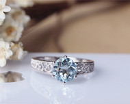 1.7ct Round Cut Aquamarine Ring Solid 14K White Gold Aquamarine Engagement Ring Wedding Ring