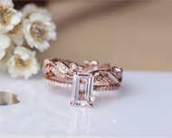 Emerald Cut Solid 14K Rose Gold Morganite Ring Set Morganite Engagement Ring Set