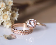 3PCS ring set Princess Cut 14K Rose Gold Morganite Ring Set Morganite Engagement Ring Set