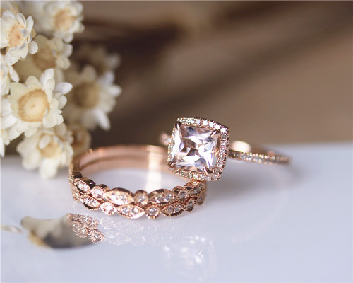 Wonderful ... Morganite Engagement Ring Set. Image 1
