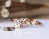 1ct Round Brilliant Moissanite Engagement Ring Set Solid 14K Rose Gold Ring Set Wedding Ring Set