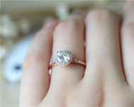 Simple 1.2ct Round Charles & Colvard Brilliant Moissanite Ring Solid 14K Rose gold Ring