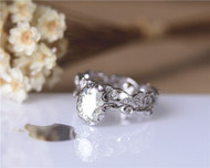 Vintage Ring Set! 1.5ct Brilliant Moissanite Ring Set Solid 14K White Gold Engagement Ring Set