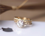 1ct Brilliant Moissanite Engagement Ring 3 Ring Set Solid 14K Yellow Gold Wedding Ring Set