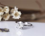 2ct Forever One Charles & Colvard 8mm Round Moissanite Engagement Ring Solid 14K White Gold