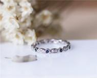Natural Blue Sapphire Full Eternity Wedding Band Milgrain diamonds Solid 14K White Gold