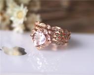 Four PCS! Unique Cushion Ring Set Solid 14K Rose Gold Morganite Engagement Ring Set