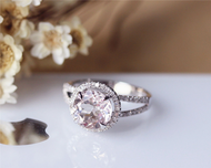 8mm Round Cut Morganite Ring Solid 14K Rose Gold Morganite Engagement Ring