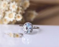 Gift! 6x8mm Oval Aquamarine Ring Solid 14K White Gold Aquamarine Engagement Ring