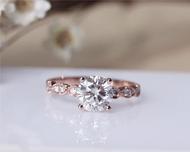 Brilliant Moissanite Ring Solid 14K Rose Gold Moissanite Engagement Ring Wedding Ring Valentine Gift