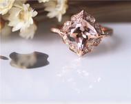 8mm Cushion Vintage Floral Morganite Engagement Ring Solid 14K Rose gold Wedding Ring
