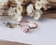 Pink 6x8mm Oval Morganite Ring Solid 14K Rose gold Morganite Engagement Ring