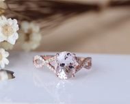 Pink Morganite Ring 7x9mm Solid 14K Rose Gold Oval Morganite Engagement Ring Wedding Ring