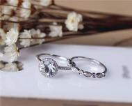 Valentine's Day Discount! 7mm Round Cut Aquamarine Ring Set Solid 14K White Gold