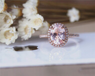 7x9mm Oval Natural Pink Morganite Ring Solid 14K Rose Gold Morganite Ring Stackable Wedding Ring