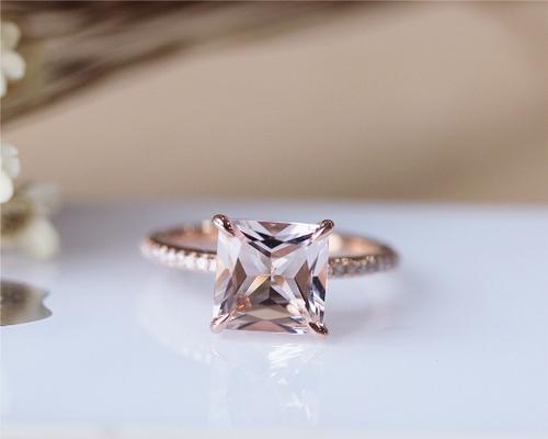 morganite engagement ring wedding ring image 1 - Morganite Wedding Rings