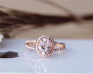 Pink 6x8mm Oval Morganite Ring Solid 14K Rose gold Morganite Engagement Ring Wedding Ring