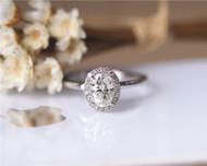 1ct Oval Brilliant Moissanite Engagement Ring Solid 14K White Gold Moissanite Ring