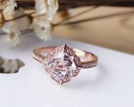 7mm Cushion Vintage Floral Morganite Engagement Ring Solid 14K Rose gold Wedding Ring