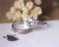 Vintage Cushion Aquamarine Ring Set Solid 14K White Gold Aquamarine Engagement Ring Set