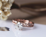 1.2ct 7mm Forever Brilliant Charles & Colvard Moissanite Engagement Ring Set Solid 14K Rose Gold