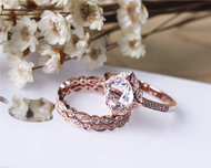 Vintage Cushion Morganite Ring Set Solid 14K Rose Gold  Morganite Engagement Ring Set