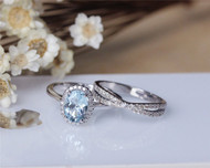 6x8mm Oval Aquamarine Ring Set Solid 14K White Gold Aquamarine Engagement Ring Set
