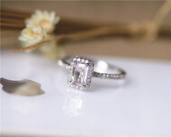 Gift Fine Engagement Ring Emerald Cut 4x6mm halo VS Morganite Ring Diamonds Ring Solid 14K White Gold