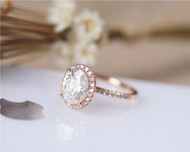2.1ct 7x9mm Oval Brilliant Moissanite Engagement Ring Solid 14K Rose Gold Moissanite Ring