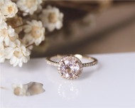 Pink Round 7mm halo VS Morganite Ring Diamonds Ring Stackable Wedding Ring Solid 14K Yellow Gold