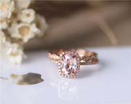 2 pieces 6x8mm Oval Morganite Ring Set Solid 14K Rose Gold Morganite Ring Set Wedding Ring Set