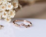 Half Eternity Natural Diamond Band Solid 14K Rose Gold Diamond Engagement Ring Wedding Ring
