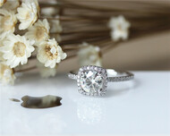 1ct Round Charles and Colvard Forever Classic Moissanite Ring With Cushion Halo Solid 14K White gold