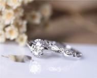 6.5mm Round 1ct Forever Classic Moissanite Engagement Ring Set Solid 14K White Gold Ring Set