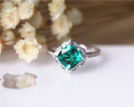 May Birthstone Ring! Gift! 7mm Cushion Emerald Ring Solid 14K White Gold Wedding Ring