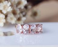 Oval Pink Morganite Ring Solid 14K Rose Gold Morganite Engagement Ring Wedding Ring