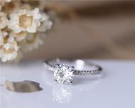Elegant Forever One Charles & Colvard 6.5mm Round Moissanite Engagement Ring Solid 14K White Gold
