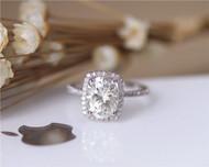 2.1ct FB Charles & Colvard 7x9mm Oval Moissanite Engagement Ring Solid 14K White Gold
